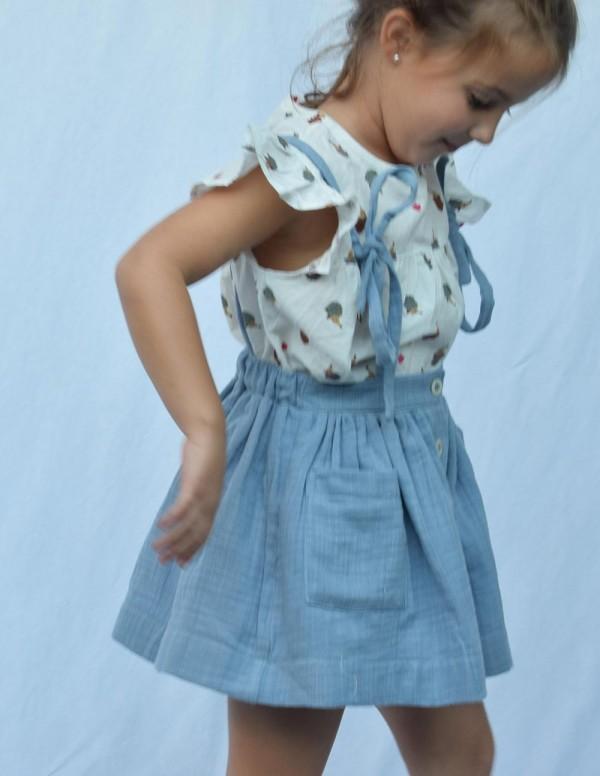Falda tirantes azul
