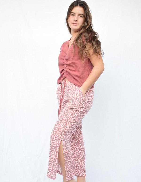 Pantalón print burdeos