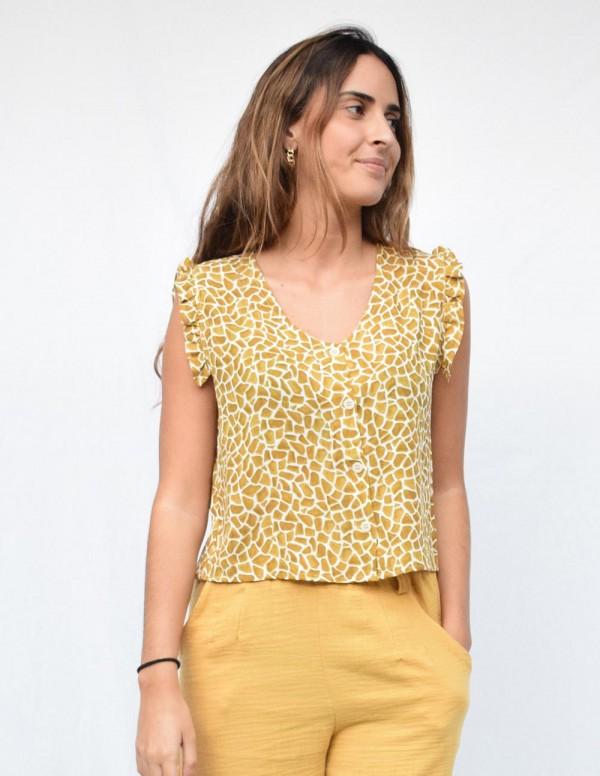 Blusa print mostaza pico escote