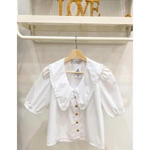 Blusa marsan pico escote blanca