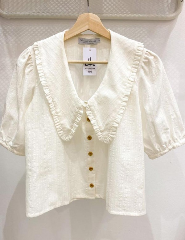 Blusa marsan pico escote blanco roto