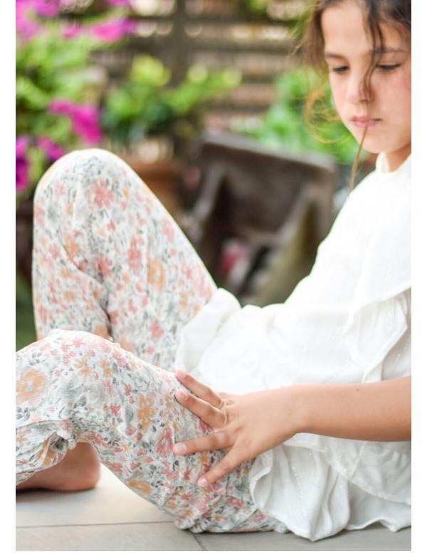 Pantalón gomas abajo flores