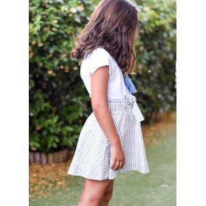 Falda tirantes rayas azules despintadas