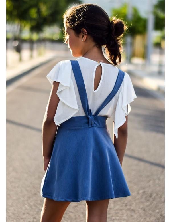 Falda media capa tirantes tencel