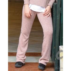 Pantalón campana motas rosa