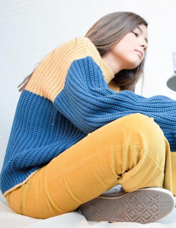 Jersey bicolor azul/camel teen
