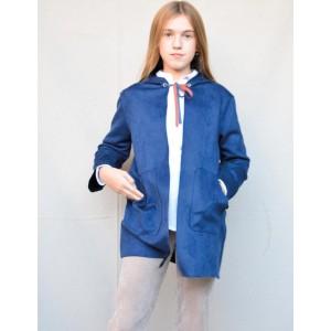 Chaqueta con capucha ante azul teen